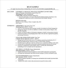 MBA Finanace Department Resume PDF Free Template