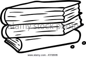 cartoon stack of books stock photo