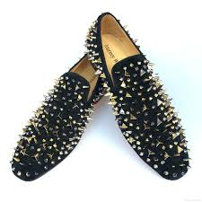 handmade men s black leather spikes loafers dress shoes gold rivets slippers flats with red bottom wedding shoes size us 6 14