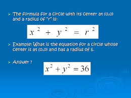 the formula for a circle with its center at 0 0 and
