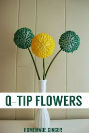 Make these quirky flowers using styrofoam balls, q-tips and food coloring!