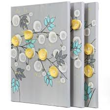 gray and yellow wall art painting of flowers on canvas large throughout trendy yellow and