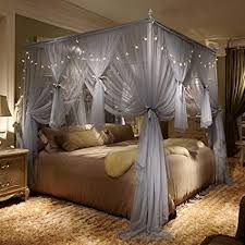 Amazon.com: 4 Corner Post Bed Canopy Curtain Mosquito Net with Led ...