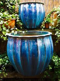 large blue glazed outdoor pots