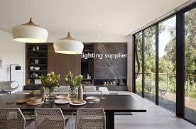 modern pendant light wood and aluminum lamp black white restaurant bar coffee dining room
