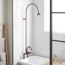 add hand shower to bathtub inspirational sebastian deck mount exposed pipe shower gooseneck tub crossadd hand