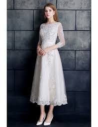 vintage tea length wedding dress 3 4 sleeve lace tulle a line