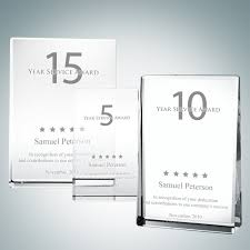 Years Of Service Award Wording Personal Gifts Optical Crystal Vertical Rectangle Plaque Award