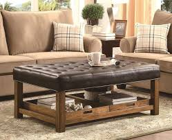 square leather coffee table with