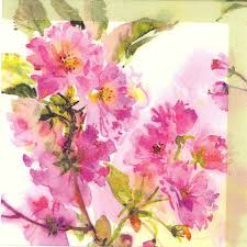 Spring Flower Paper Napkins Decoupage Paper Napkins Of Watercolor Of Spring Cherry Blossoms