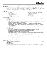 Medical Records Resume Example Good Medical Data Entry Resume