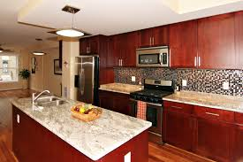 kitchen ideas cherry cabinets. Kitchen. Brown Polished Cherry Wooden Kitchen Cabinet And Island On Laminate Flooring Plus Black Ideas Cabinets