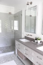 modern farmhouse bathroom neutral bathroom with vertical shiplap light grey shower tile r87 grey