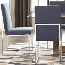 modern floating design blue dining chairs set of 2