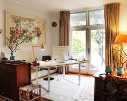 eclectic design home office. eclectic freestanding desk home office idea in sydney with gray walls design f
