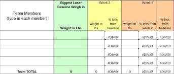 Weight Loss Challenge Spreadsheet Weight Loss Tracker