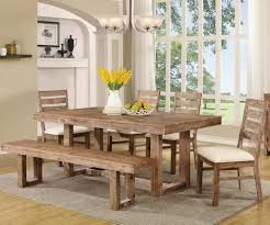 raw wood dining room sets with bench