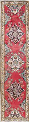 one of a kind fl red tabriz persian hand knotted 3x11 wool