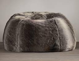 grand luxe faux wolf fur bean bag chair