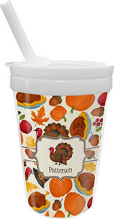 Traditional Thanksgiving <b>Sippy</b> Cup with Straw (<b>Personalized</b>)