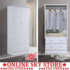 Image Is Loading WhiteWardrobeCabinetStorageClothesOrganizerArmoire Drawer White Armoire With Drawers H98