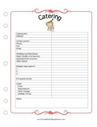 free printable wedding planner organizer catering wedding catering contract sample