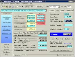 car leases calculator reviews of auto leasing software and residual values