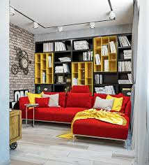 Yellow And Red Living Room Dynamic One Room Apartment Interior For Young People Fans Of Red