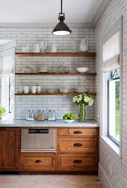 Kitchen with Reclaimed Wood Shelves (Chestnut cabinets, subway tile walls)