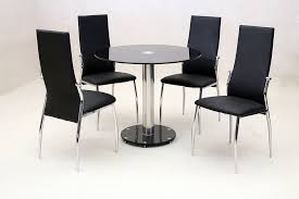 dining kitchen table set black glass round top 90cm four black leather chairs