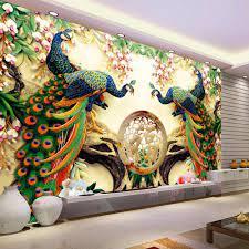 3D Wall Mural Wallpaper 3D Peacock ...