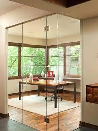 double office doors example of a trendy freestanding desk medium tone wood floor and brown floor