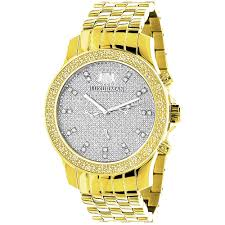 men s diamond watches save 50 80% on diamond wrist watches men s diamond watch yellow gold plated luxurman raptor 025ct w metal band