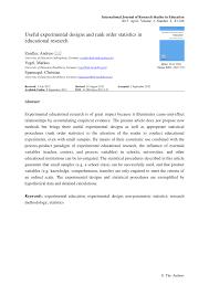 Different Experimental Designs Statistics Pdf Useful Experimental Designs And Rank Order Statistics