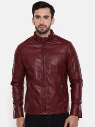 the indian garage co men red solid leather jacket