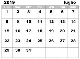Calendario Mensile Iuglio 2019 Da Stampare