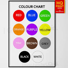 Colour Chart Details About The Colour Chart Education Kids Children Wall Chart Poster A4 A3 A2 A1