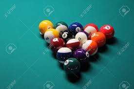 Setting Up A Pool Table A Pool Table Set Up For A Game A Game Of 8 Ball Racked And