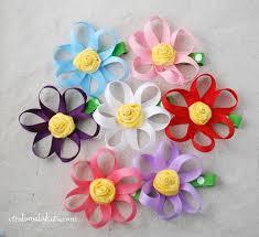 Paper Ribbon Flower Loopy Ribbon Hair Clip Tutorial