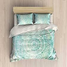 description bedding set in tones of mint green and aqua blue