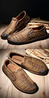 Amazon <b>Men's Leather</b> Summer <b>Breathable</b> Shoes Walking Slip On ...