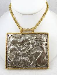 design description k j l chinese dragon pendant c 1970