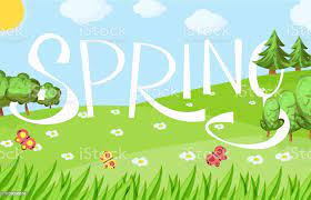 Spring Cartoon Landscape With Trees And Clouds And Flowers Stock  Illustration - Download Image Now - iStock