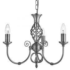 ornate lighting. Zanzibar Satin Silver 3 Light Fitting With Ornate Twisted Column Lighting