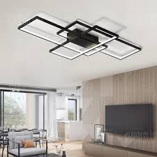 Flush Ceiling Lights Living Room Best Modern Black LED Flush Mount Ceiling Light Square Combination Shape