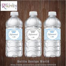 <b>20Pcs</b> Custom Silver Blue Chevron Birthday Water Bottle Label ...
