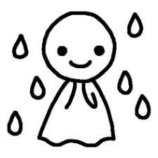 てるてる坊主白黒雨お天気の無料イラストミニカットクリップ
