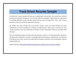 Truck Driving Resume Examples