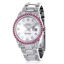 custom red ruby bezel white diamond rolex datejust mens watch 7ct custom red ruby bezel white diamond rolex datejust mens watch 7ct
