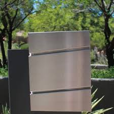 the metro modern rectangular stainless steel mailbox front view